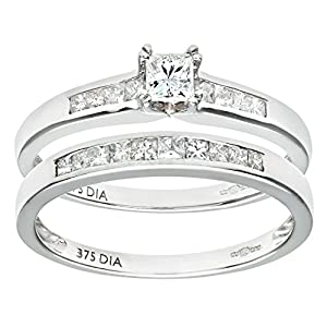Ariel 9ct White Gold Channel Set 0.50ct Princess Cut Diamond Bridal Set Ring