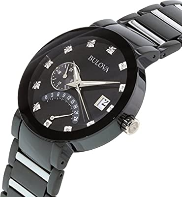Bulova Men's 98D109 Diamond Accented Black Dial Bracelet Watch by Bulova