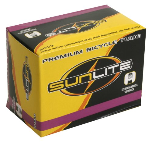 Sunlite Standard Schrader Valve Tubes, 16 x 1.375  / 32mm Valve, Black