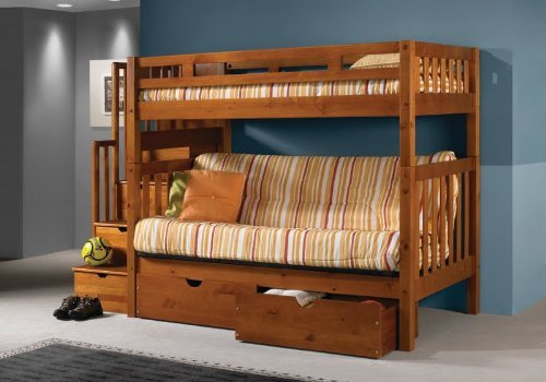 Tall Twin over Full Futon Mission Honey Stairway Bunk Bed with Drawers (Twin Over Full Futon compare prices)