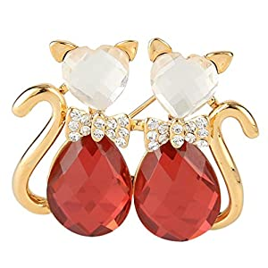 Ever Faith Gold-Tone Austrian Crystal Lover Kitty with Love Heart Bowknot Brooch Pin Red N05007-2