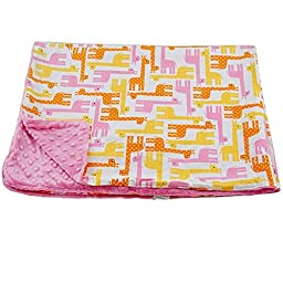 Blue Baby Bum Toddler Blanket Giraffes, Pink