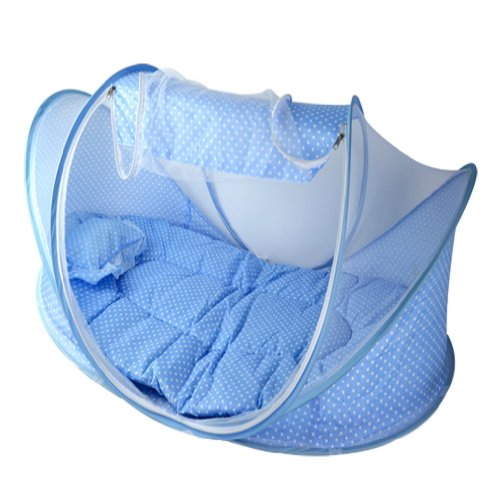 Sale!! Baby Infant Bed Canopy Mosquito Net Cotton-padded Mattress Pillow Tent Foldable Blue