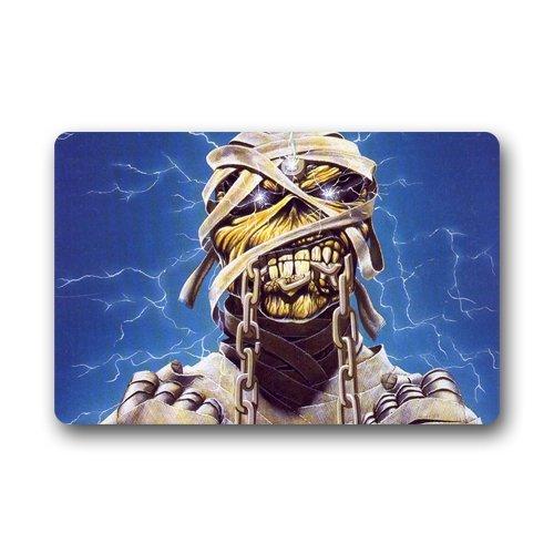 """Iron Maiden Teschio Custom lavabile in lavatrice Zerbino interni ed esterni zerbino 23.6l X 15,7""""W"""