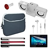 Skque® black 7 Inch Laptop Dual Pocket Carrying Case + Anti Scratch Screen Protector + white Speaker Fold-up Docking Station + silver 3.5mm Remote Mic Metal Earphone + 3 pcs stylus pen + red Crystal 3.5mm Dustproof Headphone Plug for Sony Xperia Tablet S