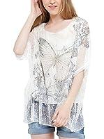 Des Filles a la Vanille Camiseta Manga Corta Chloe (Blanco / Caqui)