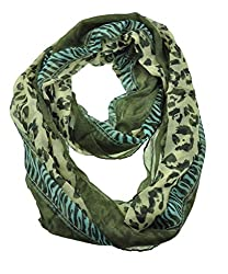WishCart Women's Infinity Circle Scarves Lightweight Leopard and Zebra Printing -Khaki+Blue
