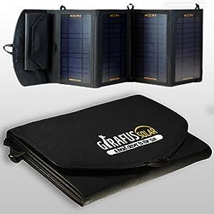 2.2A 2xUSB 14W Girafus® Universal Solar Ladegerät Anschluss Handy Smartphone iPhone iPod iPad Laden Farbe: Schwarz + integrierte Tasche für Handy GPS