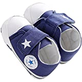waylongplus Lienzo infantil Prewalker suave Suela antideslizante Cuna zapatos Love Impresión Slip-On Zapatillas azul azul Talla:13 (12-18 Months)