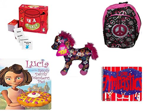 Girl's Gift Bundle - Ages 6-12 [5 Piece] - In A Pickle - Pink Peace Backpack - Sugar Loaf Toys Flower Patterned Pink & Purple Pony 10
