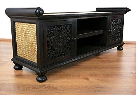 Asiatisches Sideboard (Nr.5) aus Massivholz mit Rattan verziert im Kolonialstil. Asia Möbelstuck (Bali, China, Indonesien) Schrank, Kommode aus Thailand