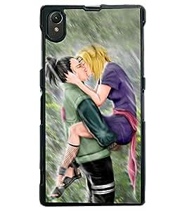 Fuson Rain Love Couple Back Case Cover for SONY XPERIA Z1 - D3810
