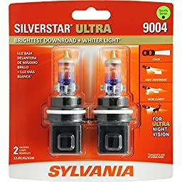 SYLVANIA 9004 SilverStar Ultra High Performance Halogen Headlight Bulb, (Contains 2 Bulbs)
