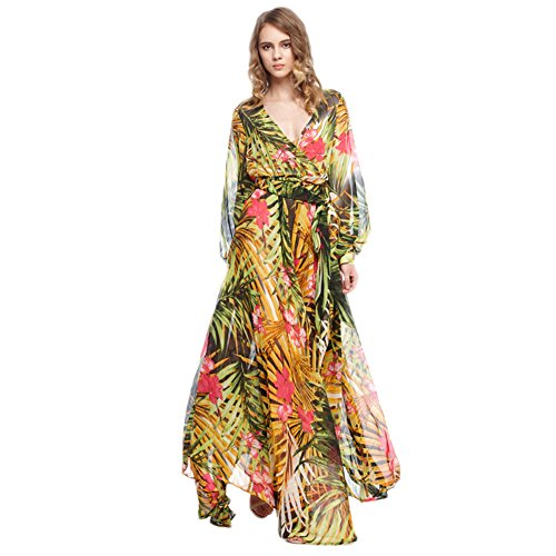 Ld Women'S Sexy Tropical Wrap Long Sleeve Flowy Maxi Dress