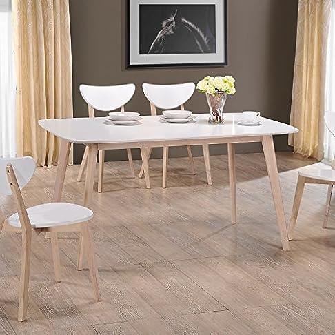 lounge-zone moderno tavolo da pranzo tavolo sala da pranzo tavolo raniz PIANO TAVOLO BIANCO GAMBE DEL TAVOLO LEGNO MASSELLO LEGNO NATURA 13624