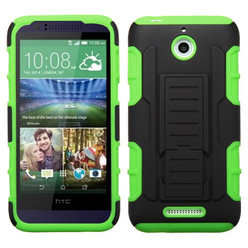 Cell Accessories For Less (Tm) Htc 510 (Desire 510) Black/Electric Green Car Armor Stand Protector Cover (Rubberized) + Bundle (Stylus & Micro Cleaning Cloth) - By Thetargetbuys