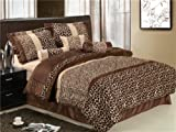 51RA02S9tPL. SL160  7pcs Micro Fur Leopard Skin Design Comforter Bed in a bag Set Queen Size Bedding