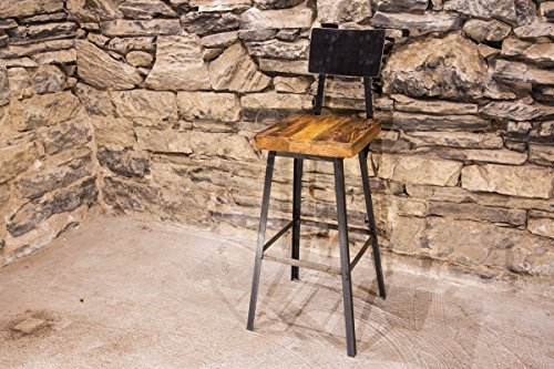 The Strong Oaks Wood Shop Brew Haus Industrial Style Bar Stools with Scooped Backs (Vintage Shop Stool compare prices)