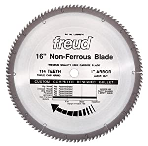 Freud LU89M016 16-Inch 114 Tooth Non-Ferrous Metal Cutting Saw Blade with 1-Inch Arbor