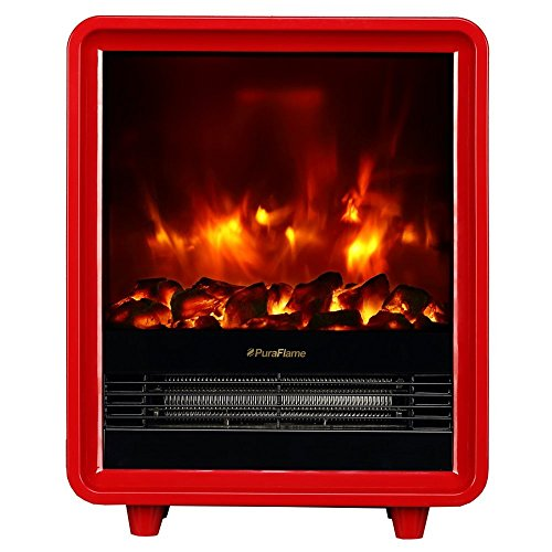 Best Price! PuraFlame Octavia Red 12 inch Portable electric Heater, Eco Friendly, 1500W