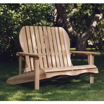 Western Red Cedar Wood Outdoor Patio Adirondack Loveseat Chair