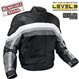 Men's Armored Black and Grey Tri-Tex Fabric and Leather...