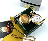 24K Gold Royal Marines Pocket Watch in luxury presentation case with detailed certificate