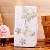 Locaa(TM) For HTC One M8 (HTC M8) 3D Bling Cases Deluxe Luxury Crystal Pearl Diamond Rhinestone eye-catching Beautiful Leather Retro Support bumper Cover Card Holder Wallet Case - [General series] butterfly pendant1