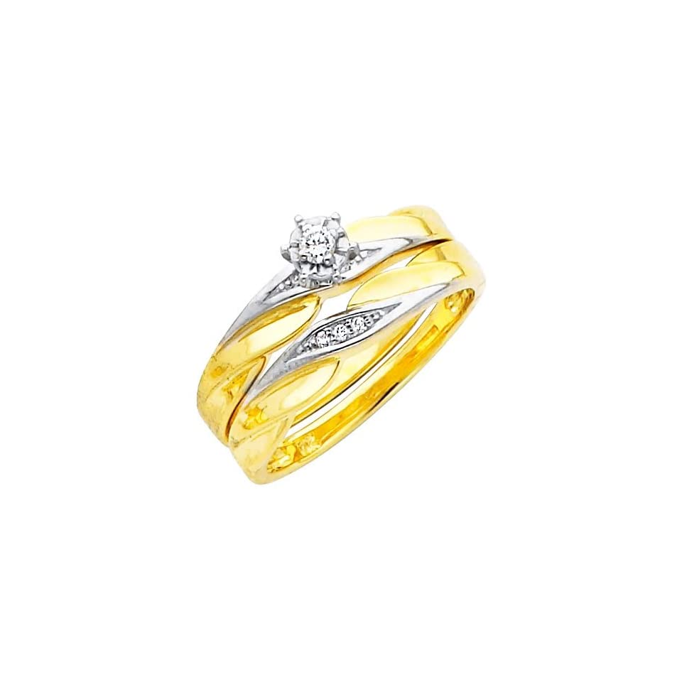 14K Yellow and White 2 Two Tone Gold Womens Round cut Diamond Enagagement Ring and Wedding Band 2 Pieces Bridal Set (0.1 CTW., G H Color, SI Clarity)   Size 6