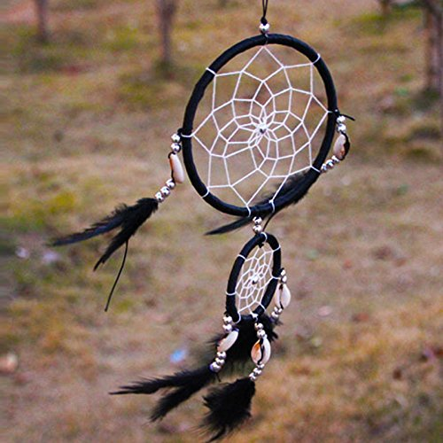 [Handmade Black Dream Catcher With Feathers Wall Hanging Decoration Ornament Gift] (Bug Catcher Pokemon Costume)