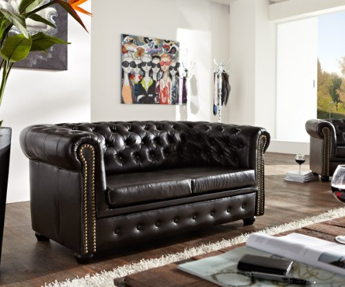Sofa Chesterfield 160x90 cm Antikbraun abgesteppt 2-Sitzer Couch