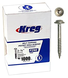Kreg SML-F125-1000 1 1/4-Inch No. 7 Fine Pocket Hole Screws with Washer-Head, 1000-Pack