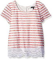 My Michelle Big Girls' Striped Short Sleeve Top with Lace Trim At Hem,Coral,Large