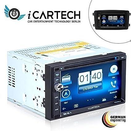 """ICARTECH Aurora 2 Système ultra rapide de navigation combiné avec autoradio Écran 7"""" Compatible avec Mercedes classe C/CLK/Viano/Vito, processeur Cortex A9 1,2 GHz ultra rapide, interface de commande au volant en option, micropho"""