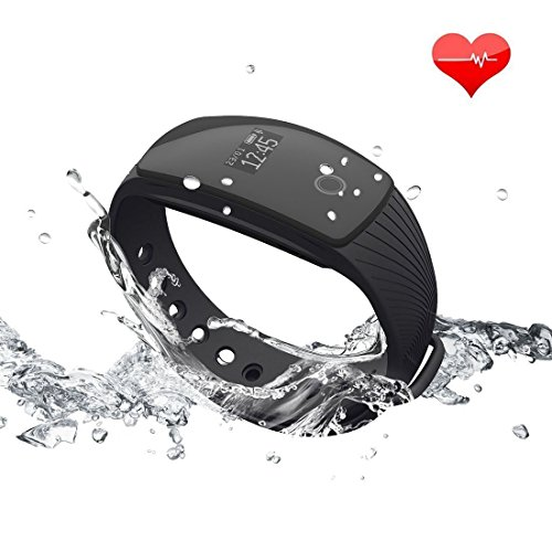【Versione Aggiornata】RIVERSONG ® Bracciale Fitness, Resistente all'acqua Braccialetto Orologio Fitness Cardiofrequenzimetro activity tracker con OLED Pedometro Calorie Tracking salute Smartwatch per Android iOS Halloween presente (Nero)