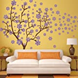 Beautiful Flower Wall Decal Vinyl Trees Wall Quotes Tree Flower Home Art Decoration 3(trees:Brown; flowers:Hydrangea Purple)