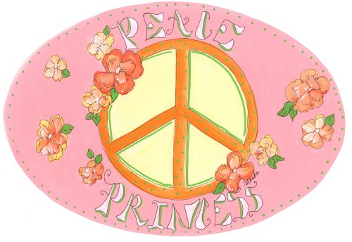 The Kids Room by Stupell Peace Princess with Flowers Oval Wall Plaque