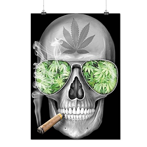 Skeleton Smoke Weed Cool Skull Matte/Glossy Poster A4 (9x12 inches) | Wellcoda (Cool Skull Stuff compare prices)