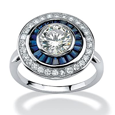 3.26 TCW Round Cubic Zirconia and Sapphire Circle Ring in Platinum over Sterling Silver