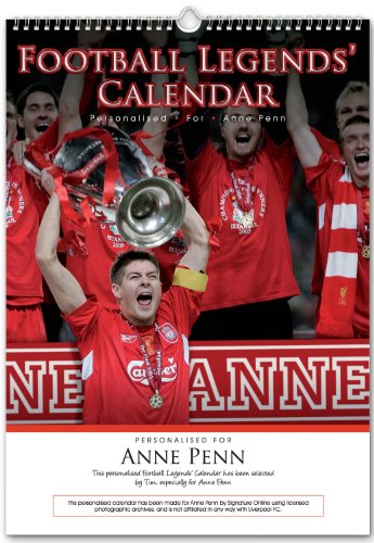 A3 size Calendar Liverpool FC Football Legends Personalise With Your Details, Dates to Remember etc