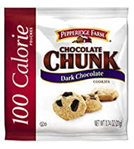 PEPPERIDGE FARM 100 Calorie Chocolate Chunk, Dark Chocolate Cookies, 0.74 Ounce, 100-Count Pouches