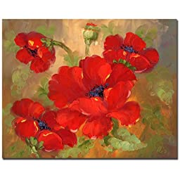 Trademark Fine Art Poppies by Master\'s Art Canvas Wall Art, 26x32-Inch