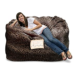Elite Products Elite 4 ft. Animal Print Mod Pod Foam Small Sofa, Leopard, Faux Suede, Sofa