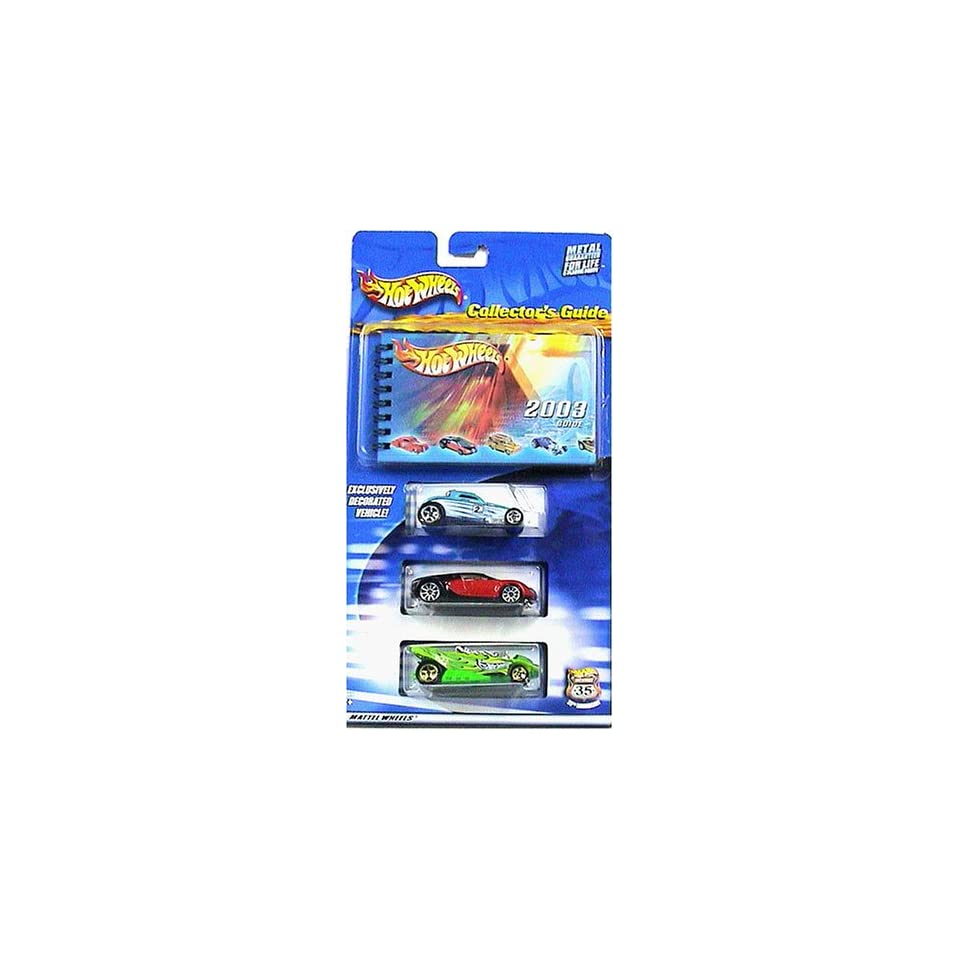 Hot Wheels 2003 Collectors Guide 3 Car Pack and Book Exclusive Paint SOOO Fast