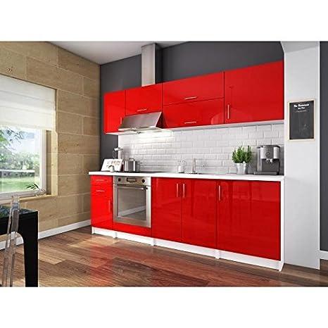 City cuisine complete 2m40 - rouge laqué haute brillance
