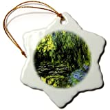 3dRose orn_49303_1 Monet Famous Painting Water Lillies N Weeping Willow Snowflake Porcelain Ornament, 3-Inch