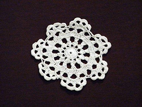 Wholesale 12-piece Lot Handmade Medallion Crochet Lace Cotton Doily Coasters, 4-inch Round, White