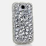 3D Luxury Swarovski Crystal Sparkle Diamond Bling Clear Silver Design Case Cover for Samsung Galaxy S4 S 4 IV i9500 fits Verizon, AT&T, T-mobile, Sprint and other Carriers (Handcrafted by BlingAngels®)