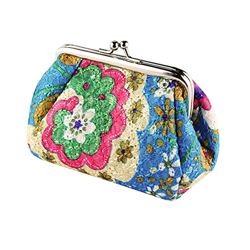Women's Cute Embroidered Hasp Purse Clutch Bag