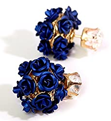 YouBella Jewellery Rose Shape Two Sided Fancy Party Wear Earrings for Girls and Women (Dark Blue)